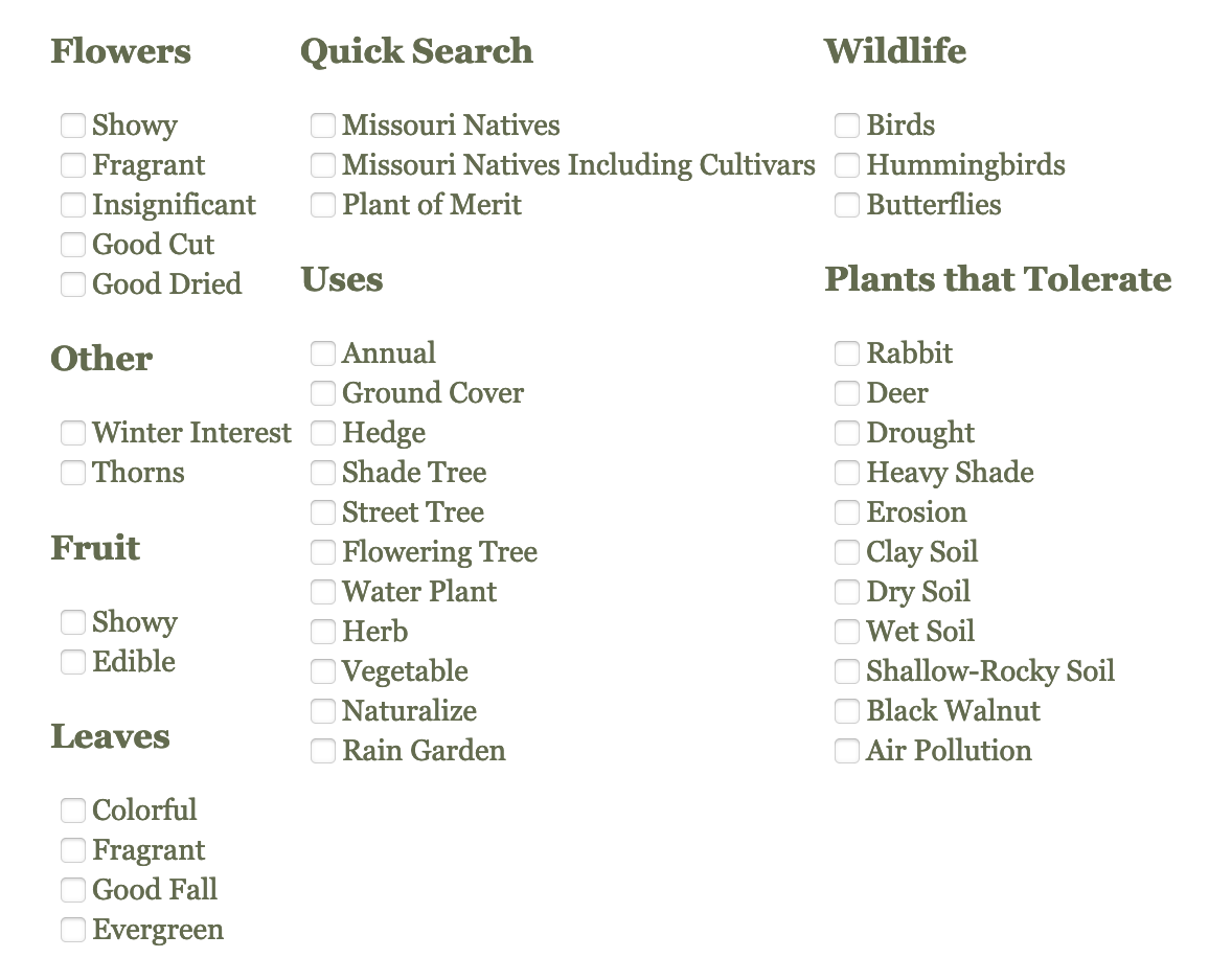 mobot plant finder filter options