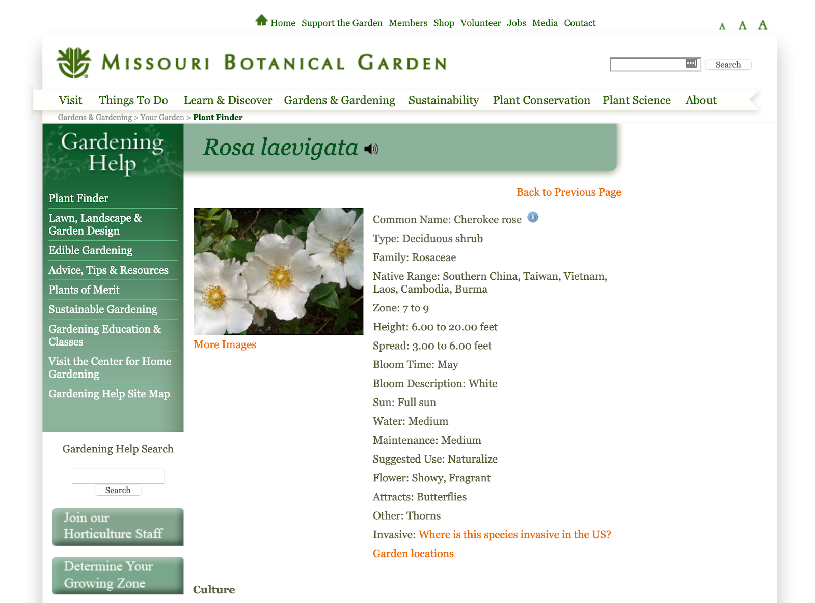 mobot plant finder page